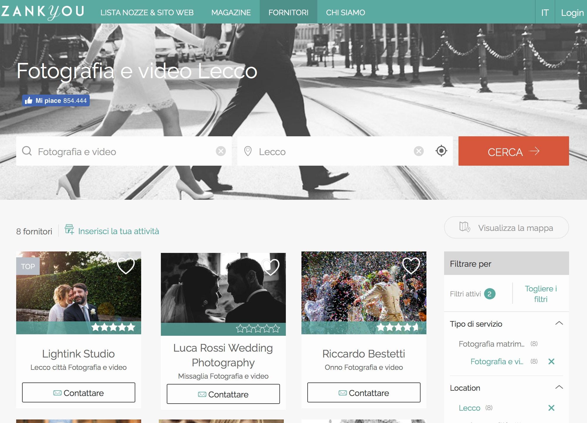 ricerca online fotografo matrimonio lecco