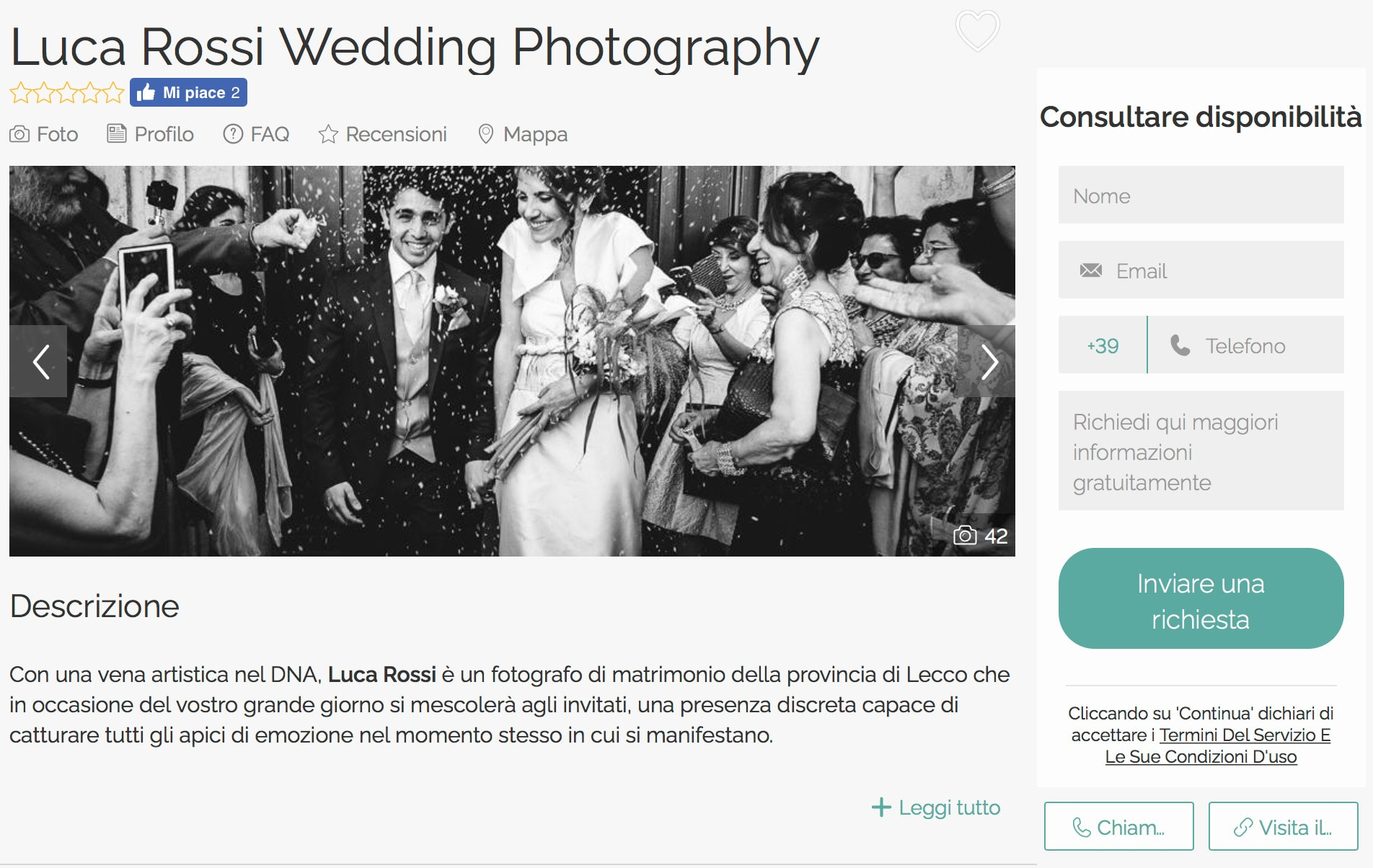 scheda fotografo matrimonio lecco zankyou