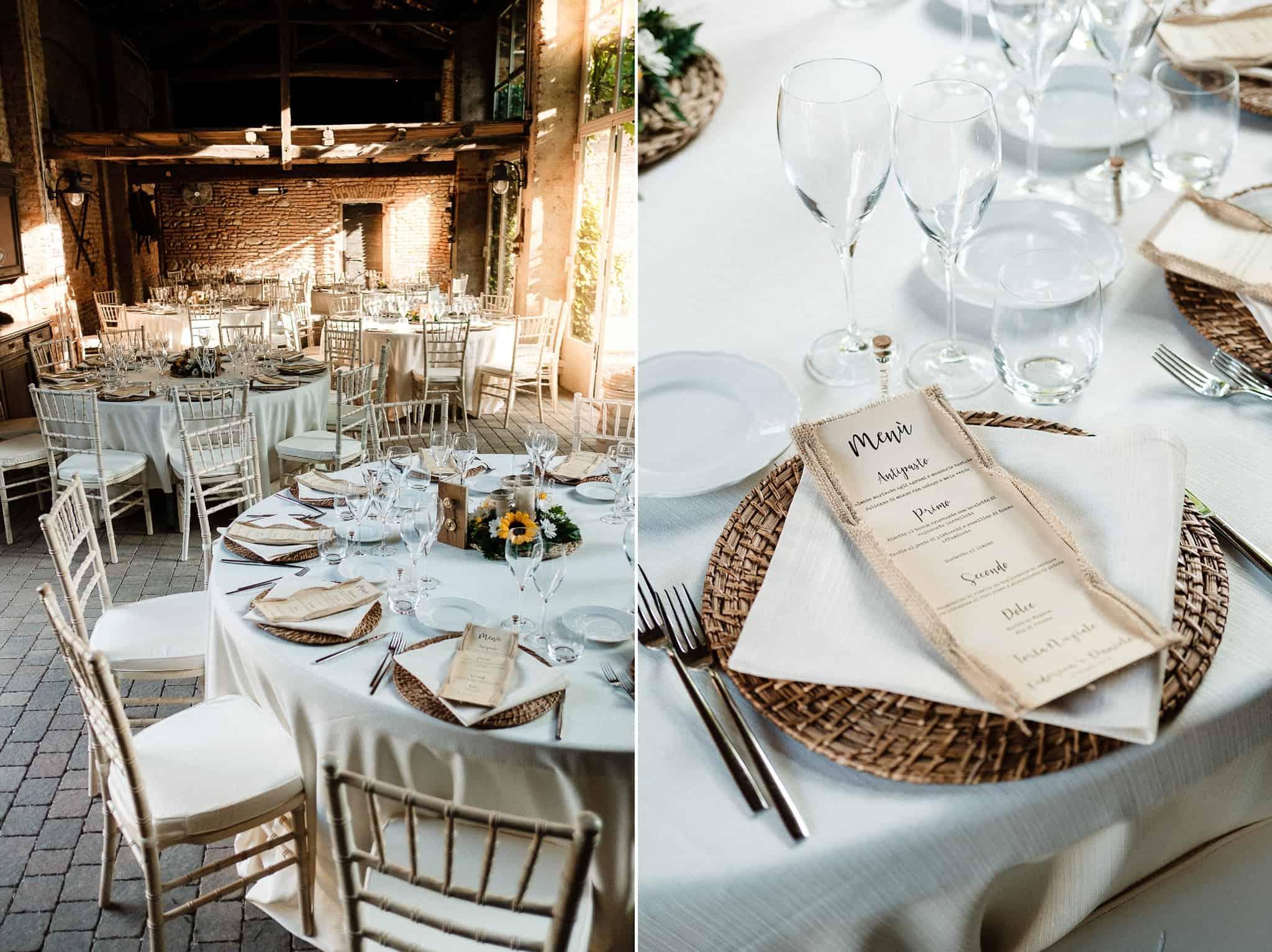 dettagli allestimento e tavoli villa bianca rovellasca